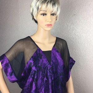 Kenar, 100% silk, purple and sheer black top